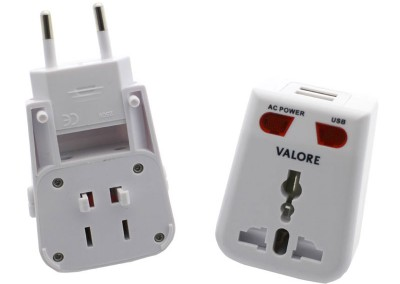 Valore Universal Travel Adapter With Two USB Output (V-AC619)