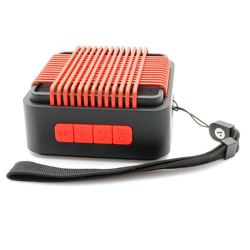 HR910-Water-Resistant-Wireles-Speaker-red-with-strap