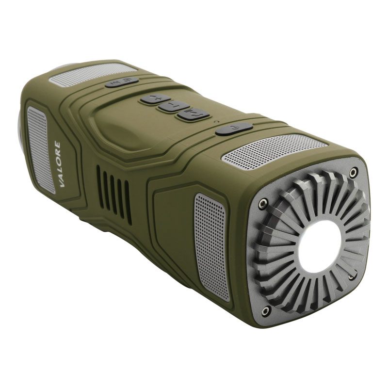 OP16-Wirelss-Outdoor-Speaker-(Green)-torch-on