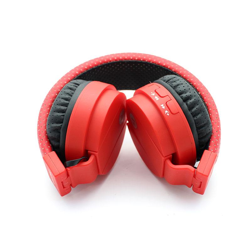 SH018B-Wireless-Headset-Red-Foldable-Front