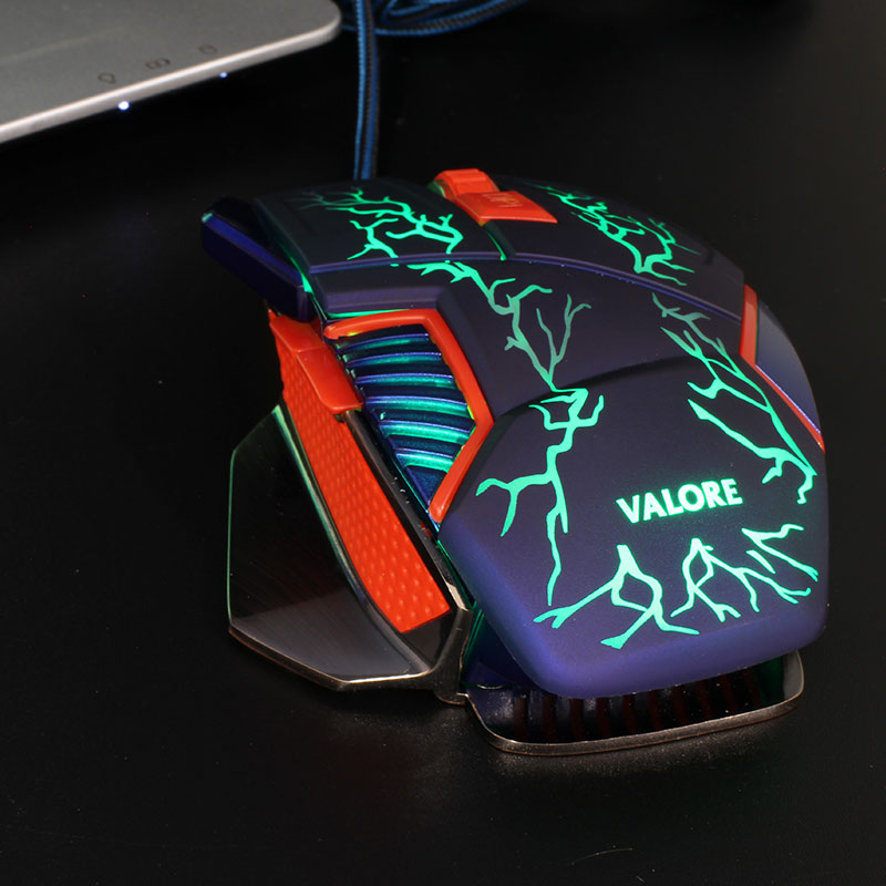 V-AC8207-Metallic-Gaming-Mouse-Green-LED