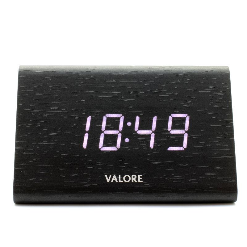 V-LWC169-Wooden-Alarm-Clock-Black-Front-Lit