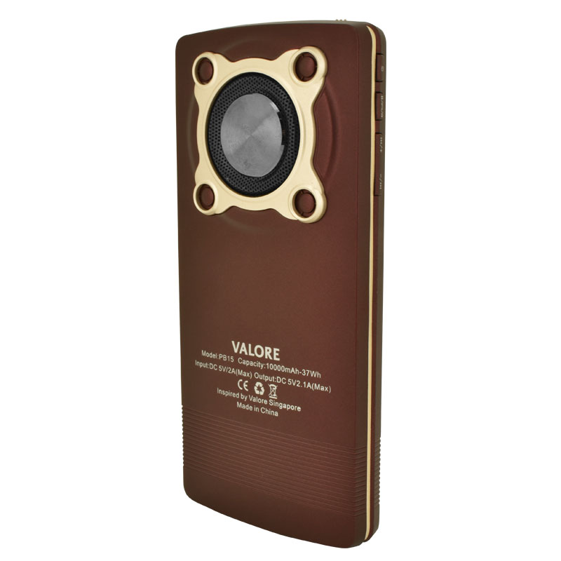 Valore-10000mAh-Power-Bank-With-3W-Wireless-Speaker-(PB15)-Back-Brown