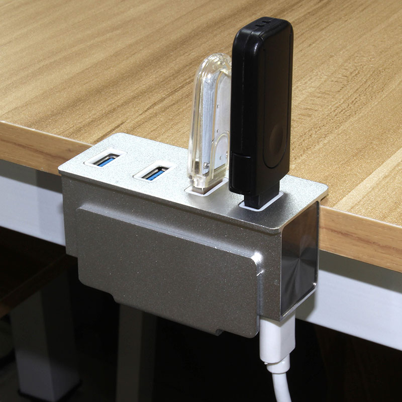 Valore-4-Port-USB-3.0-Aluminium-Clamp-Hub-(VUH-24)-Side-table-clamp