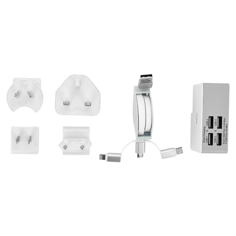 Valore-4-Port-USB-Travel-Adaptor-Kit-Bundle-(JK050500-S23EUU)-plugs-and-cable
