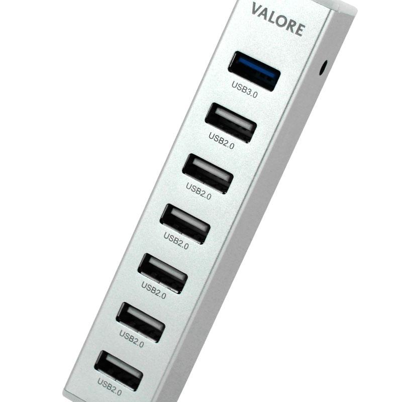 Valore Aluminium 7-Port USB Hub (VUH-16) Ports