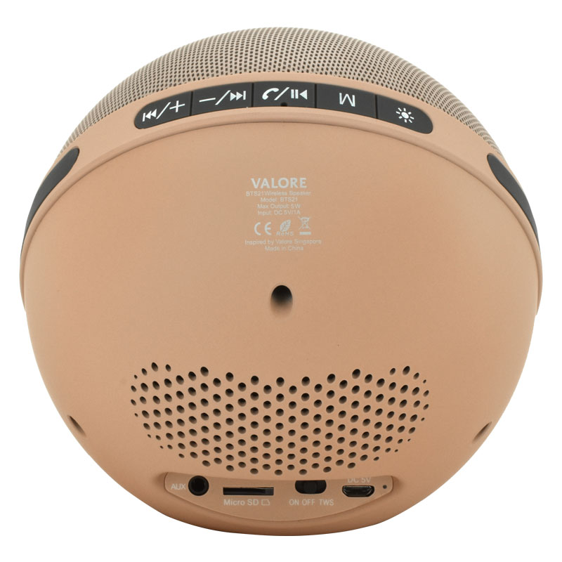 Valore-Aurora-Wireless-Speaker-With-Moodlight-(BTS21)-Beige-Back-Controls