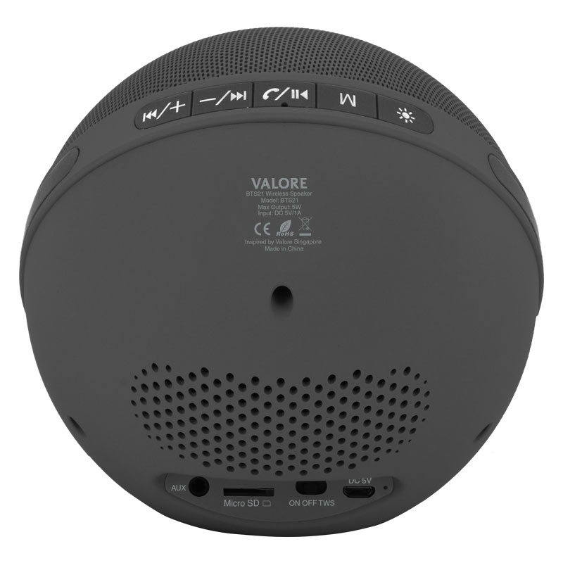 Valore-Aurora-Wireless-Speaker-With-Moodlight-(BTS21)-Grey-Back-Controls