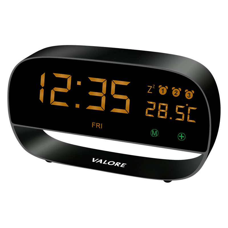 Valore-LED-Clock-With-Night-Light-Function-(LA20) Black