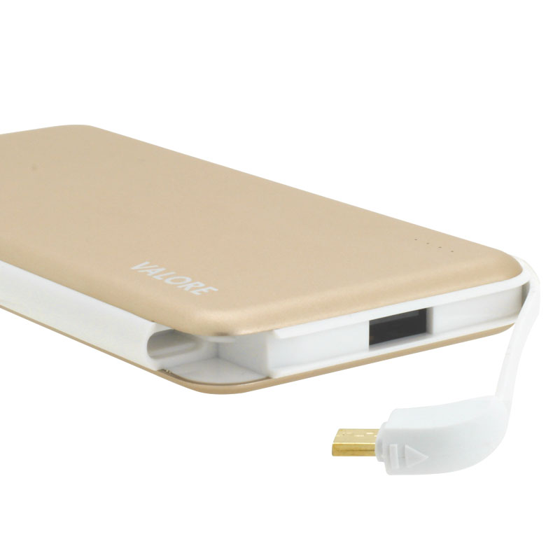 Valore-Pangolin---10000mAh-Power-Bank-(PB20)-Gold-Built-in-cable