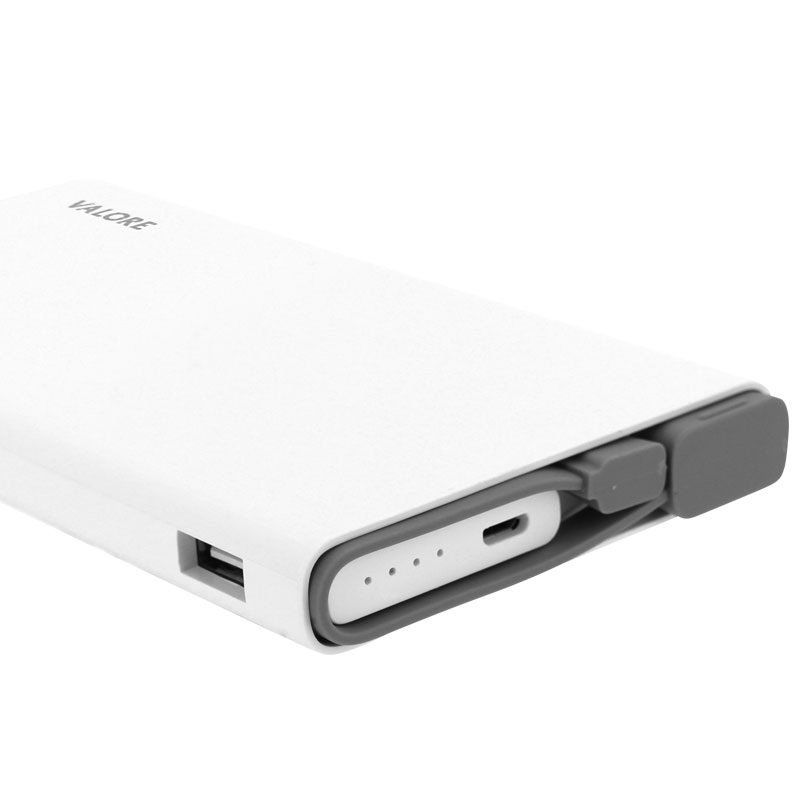 Valore-Peregrine---Qualcomm-Quick-Charge-10000mAh-Power-Bank-(PB18-QC)--White-charging-cable-and-ports