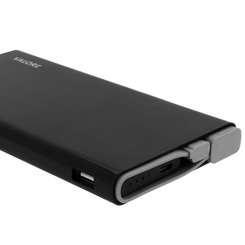 Valore-Peregrine---Qualcomm-Quick-Charge-10000mAh-Power-Bank-(PB18-QC)--charging-cable-and-ports