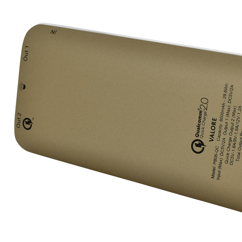 Valore-Quick-Charge-8000mAh-Power-Bank-(PB06-QC)-Gold-back