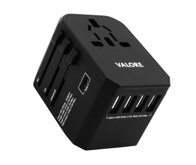 Valore Universal Travel Adaptor With 4 USB + 1 Type-C Output (AC57)