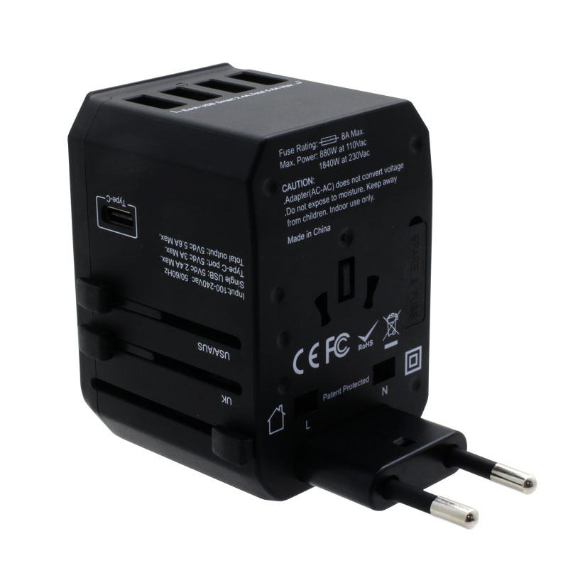 Valore-Universal-Travel-Adaptor-With-4-Port-USB-+-Type-C-Output-(AC57)-Black-EU
