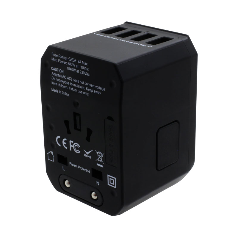 Valore-Universal-Travel-Adaptor-With-4-Port-USB-+-Type-C-Output-(AC57)-Black-Release-button