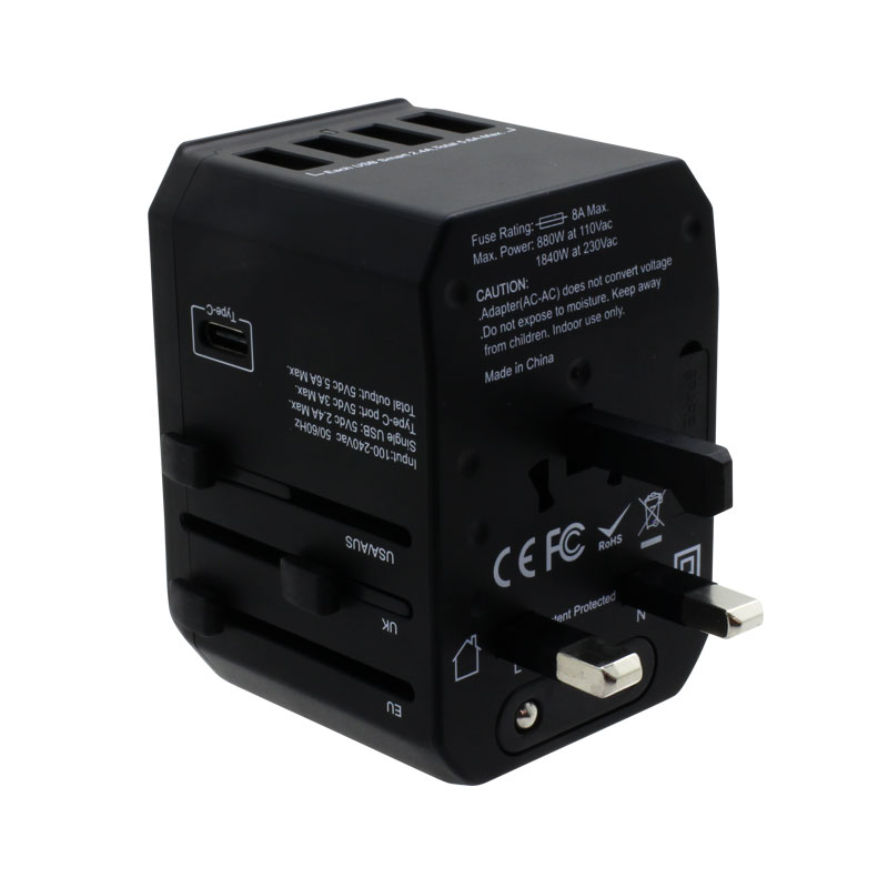 Valore-Universal-Travel-Adaptor-With-4-Port-USB-+-Type-C-Output-(AC57)-Black-UK