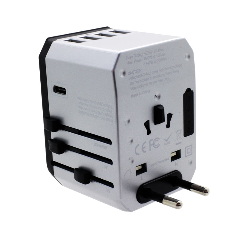 Valore-Universal-Travel-Adaptor-With-4-Port-USB-+-Type-C-Output-(AC57)-Silver-EU