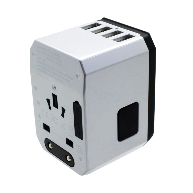 Valore-Universal-Travel-Adaptor-With-4-Port-USB-+-Type-C-Output-(AC57)-Silver-Release-button