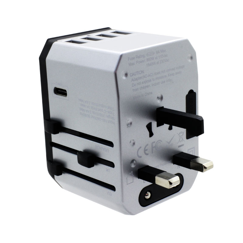 Valore-Universal-Travel-Adaptor-With-4-Port-USB-+-Type-C-Output-(AC57)-Silver-UK