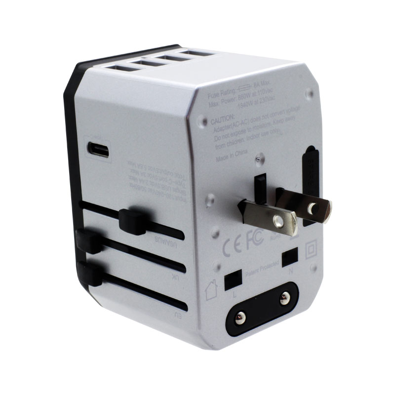 Valore-Universal-Travel-Adaptor-With-4-Port-USB-+-Type-C-Output-(AC57)-Silver-USA-AUS