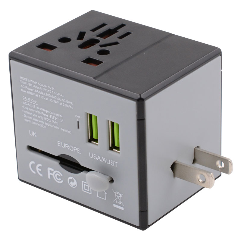 Valore-Universal-Travel-Adaptor-With-Duo-USB-Port-(AC76)-(Black)-USA
