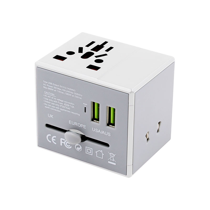Valore-Universal-Travel-Adaptor-With-Duo-USB-Port-(AC76)-(White)
